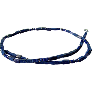 Men's Lapis Lazuli Gemstone Beaded Necklace- Bali Sterling Silver- Artisan Handmade Jewelry- Free Shipping