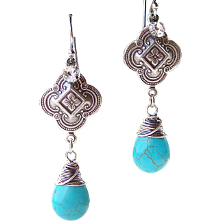 Turquoise Howlite Briolette Quatrefoil Wire Wrapped Earrings - Sterling Silver Handmade Jewelry for Her- FREE Shipping