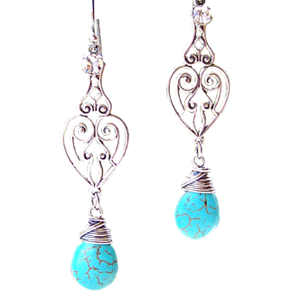 Turquoise Howlite Briolette Wire Wrapped Filigree Heart Motif Earrings - Sterling Silver Handmade Jewelry for Her- FREE Shipping