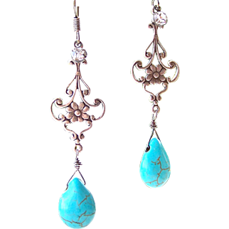 Turquoise Howlite Briolette Floral Filigree Motif Wire Wrapped Earrings - Sterling Silver Handmade Jewelry for Her- FREE Shipping