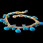Sky Blue Turquoise, Swiss Blue Topaz Gemstone Charm Bracelet- 14k Gold Filled -Fine Artisan Handmade Jewelry- November/December Birthstones