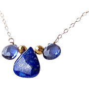 Tanzanite Micro-faceted Quartz, Lapis Lazuli Gemstone Layering Necklace- 14k Gold Filled- Fine Handmade Jewelry Gift for Her- FREE SHIPPING