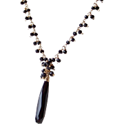 Lux Black Spinel, Black Onyx Cluster Gemstone Necklace- 14k GF/ 24K GV- Wire Wrapped Artisan Handmade Jewelry Gift for Her