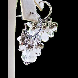 Rock Crystal, Rainbow Moonstone, Pyrite Gemstone Cluster Hoop Earrings- 925 Sterling Silver- Statement -Handmade Jewelry Gift for Her