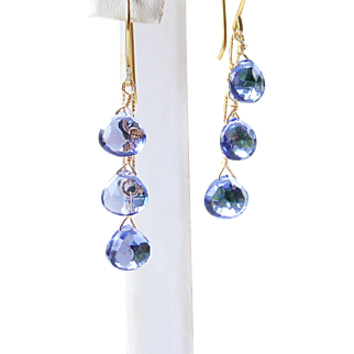 Tanzanite Micro-faceted Quartz Gemstone Linear/Dangle Earrings- 14k Gold Filled- Fine Handmade Jewelry Gift for Her- FREE SHIPPING