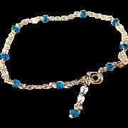 London Blue Topaz Gemstone Bracelet- 14k Gold Filled- Delicate Layering Bracelet- Minimalist- Handmade Jewelry Gift for Her- FREE SHIPPING