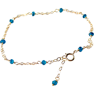 London Blue Topaz Gemstone Bracelet- 14k Gold Filled- Delicate Layering Bracelet- Minimalist- Handmade Jewelry Gift for Her- FREE SHIPPING