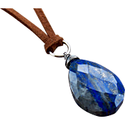 Men's or Women's Lapis Lazuli Gemstone Pendant Leather Necklace- Western/ BOHO- Sterling Silver Wire Wrapped- Handmade Jewelry Gift Under $40