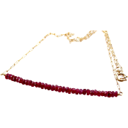 Natural Red Ruby Gemstone Bar Necklace- Short Delicate Layering Necklace- 14k Gold Filled- Handmade Jewelry Gift for Her- Christmas