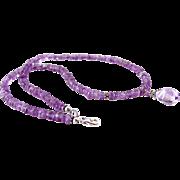 Layaway for Peggy- Brazilian & Rose de France Amethyst Gemstone Beaded Pendant Necklace- 925 Sterling Silver- Handmade Jewelry- February Birthstone