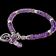 Brazilian Amethyst Gemstone Charm Bracelet, French Fleur de Lis- 925 Sterling Silver- Artisan Handmade Jewelry- February Birthstone