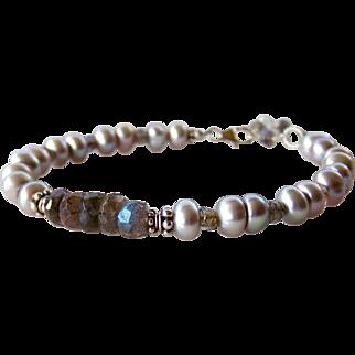 Blue Flashing Labradorite, Cultured Gray Freshwater Pearl Bracelet- 925 Sterling Silver- Boho- Artisan Handmade Jewelry Gift for Her