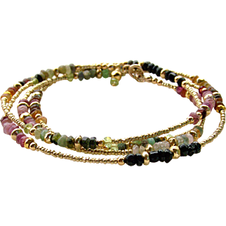 Multi-Color Tourmaline Gemstone- 'Boho Chic' Skinny Wrap Bracelet or Necklace, 14k Gold Filled, Layering Bracelet/Necklace, Handmade Jewelry Gift for Her- FREE SHIPPING