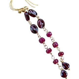Natural Ruby, Red Garnet Gemstone Dangle Earrings- 14k Gold Filled, Rosary Style Wire Wrapped- Handmade Jewelry- Christmas Gift for Her
