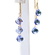 AAA Tanzanite Micro-faceted Quartz Gemstone Linear/Dangle Earrings- 14k Gold Filled- Fine Handmade Jewelry Gift for Her- FREE SHIPPING