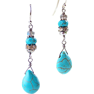Turquoise, Flash Labradorite, Crystal Gemstone Stacked Boho Dangle Earrings- Wire Wrapped- Sterling Silver Handmade Jewelry for Her- FREE Shipping