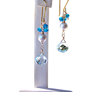 Sky Blue Topaz- Swiss Blue Topaz Gemstone- Gray Cultured Pearl Dangle Earrings- 24K GV- 14K GF Wire Wrapped- Handmade Jewelry Gift- FREE Shipping