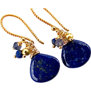 Lapis Lazuli, Iolite, Pyrite Gemstone Cluster Dangle Earrings- 14k Gold Filled- Wire Wrapped Fine Handmade Jewelry Gift for Her- FREE SHIPPING