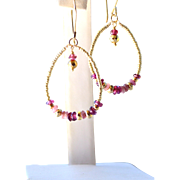 'Boho Chic' Pink Tourmaline- Red Garnet- Pyrite Gemstone Hoop Earrings- 24K Gold Vermeil- Handmade Jewelry Gift- Valentines Day-Free Shipping