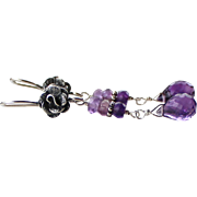 Natural African & Brazilian Amethyst Gemstone Dangle Earrings- Bali Rose Studs- 925 Sterling Silver- Handmade Jewelry- February Birthstone
