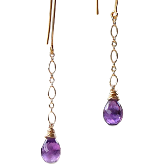 Natural African Amethyst Gemstone Dangle Drop Earrings- Wire Wrapped- Bali 24k GV- 14k Gold Filled- Handmade Jewelry- February Birthstone