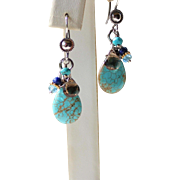 Boho/ Western Natural Turquoise, Blue Topaz, Lapis Lazuli, Smoky Quartz Gemstones Earrings, Bali Sterling Silver Dangle Earrings, Handmade Jewelry Gift for Her