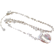 Jumbo Keshi Pearl Petal & Rainbow Moonstone Gemstone Pendant Necklace, 925 Sterling Silver Wire Wrapped Fine Handmade Jewelry Gift for Her- Free Shipping