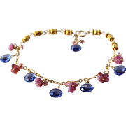 Tanzanite Quartz, Pink Tourmaline, Raw Tourmaline Gemstone Charm Bracelet- 14k Gold Filled/ 24K Gold Vermeil -Fine Artisan Handmade Jewelry- Free Shipping
