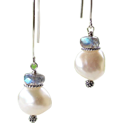 Large Baroque Cultured Pearls, Blue Flashing Labradorite Gemstone Dangle Earrings- Bali Artisan Handmade 925 Sterling Silver- Jewelry Gift for Her- Wedding/ Bride's Maid