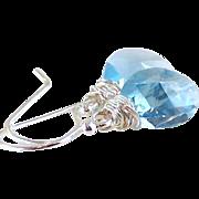 Aquamarine Swarovski Crystal Tear Drop Earrings- Bright Sterling Wire Wrapped Dangle- Artisan Handmade Jewelry Gift Her