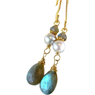 Labradorite Blue Flash Gemstone Earrings- Wire Wrapped/ Stacked Dangle Earrings- Gray Cultured Potato Pearl- 24K GV - Artisan Handmade Jewelry Gift for Her Under $40