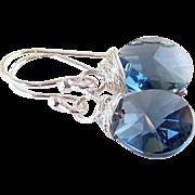 Montana Blue Swarovski Crystal Tear Drop Earrings- Bright 925 Sterling Wire Wrapped Dangle- Artisan Handmade Jewelry Gift Her- $25