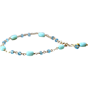Blue Topaz, Peruvian Opal Gemstone Charm Bracelet- 14k Gold Filled, Wire Wrapped- Fine Handmade Jewelry Gift for Her