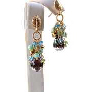 13.75ct Brazilian Smoky Quartz, Blue Topaz, Peruvian Opals, Peridot Gemstone Cluster Teardrop Leaf Earrings- 24k Bali Gold Vermeil, Fine Handmade Jewelry