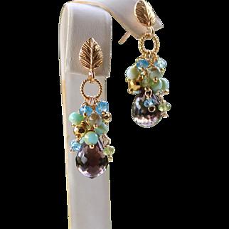 Lux 13.75ct Brazilian Smoky Quartz, Blue Topaz, Peruvian Opals, Peridot Gemstone Cluster Teardrop Leaf Earrings- 24k Bali Gold Vermeil, Fine Handmade Jewelry