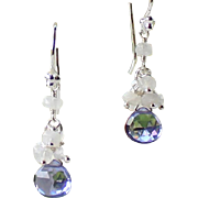 AAA Tanzanite Micro-faceted Quartz, Rainbow Moonstone Gemstone Cluster Dangle Earrings- 925 Sterling Silver- Fine Handmade Jewelry Gift for Her- FREE SHIPPING