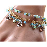 Lux Sky Blue Topaz, Peruvian Opals, Smoky Quartz Briolette Gemstone, Layered Fringe Gemstone Charm Bracelet- 14k Gold Filled- 24k Bali Gold Vermeil, Fine Handmade Jewelry