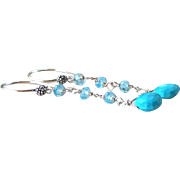 Sky Blue Turquoise and Blue Topaz Precious Gemstone Dangle Earrings- 925 Sterling Silver Wire Wrapped Rosary Style- Fine Artisan Handmade Jewelry Gift