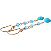 Sky Blue Turquoise and Blue Topaz Precious Gemstone Dangle Earrings- 14k Gold Filled Wire Wrapped Rosary Style- Fine Artisan Handmade Jewelry Gift