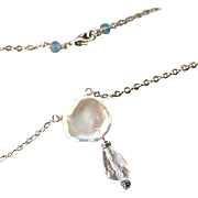 """Large Keshi Petal Pearl-Blue Topaz- Rock Crystal Gemstone Dangle Charm Necklace, 16""""- 925 Sterling Silver- Fine Handmade Jewelry Gift- FREE Shipping"""