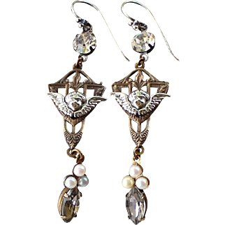 Vintage Assemblage Cherub Earrings, Art Deco, Antique Crystal Pearls, Black Diamond Swarovski Crystal, Upcycled Religious Angel Jewelry Gift for Her