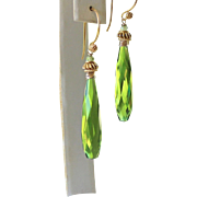 Olive Green Quartz- Peridot Gemstone Dangle Earrings- 24k Gold Vermeil- 14k Gold Filled Artisan Handmade Jewelry Gift Her- Free Shipping