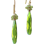 Olivine Green Quartz- Peridot Gemstone Cluster Wire Wrapped Dangle Earrings- 24k Gold Vermeil- 14k Gold Filled- Fine Artisan Handmade Jewelry Gift Her- Free Shipping