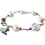 Beach Lover Themed Mermaid Cultured Baroque Pearl, Blue Flash Labradorite, Rock Crystal Gemstone Bracelet, Bali Sterling Silver, Wire Wrapped, Handmade Ocean Inspired Gift for Her