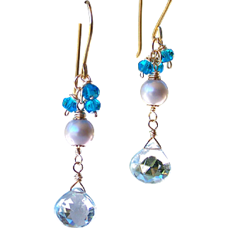 Sky Blue Topaz- Swiss Blue Topaz Gemstone- Gray Cultured Pearl Dangle Earrings- 24K GV- 14K GF Wire Wrapped- Artisan Handmade Jewelry Gift-Her- FREE Shipping