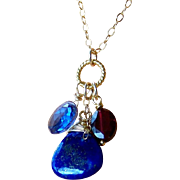 Tanzanite Micro-faceted Quartz, Lapis Lazuli, Red Garnet Gemstone Layering Necklace- 14k Gold Filled- Fine Handmade Jewelry Gift for Her- FREE SHIPPING