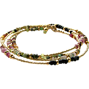 Multi-Color Tourmaline Gemstone- 'Boho Chic' Skinny Wrap Bracelet or Necklace, 14k Gold Filled, Layering Bracelet / Necklace, Handmade Jewelry Gift for Her- FREE SHIPPING