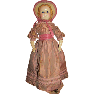 "1860's – 1870's Rare 20"" Wax over Paper Mache Doll"