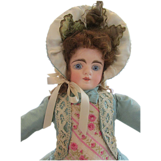 "1880's French Style Child's Dress and Bonnet  for a 14"" Doll"