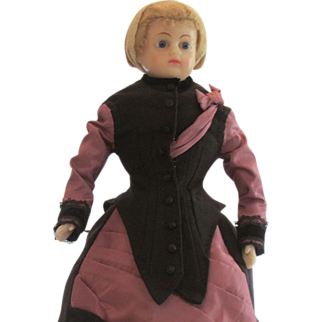 "1876 French Style Wool Dress for a 21"" Doll"